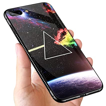 reputable site 091aa 0b916 iPhone 8 Plus Case,9H Tempered Glass iPhone 7 Plus Cases for Men Boys,Cool  Pink Floyd Dark Side Pattern Design Printing Shockproof Anti-Scratch Case  ...