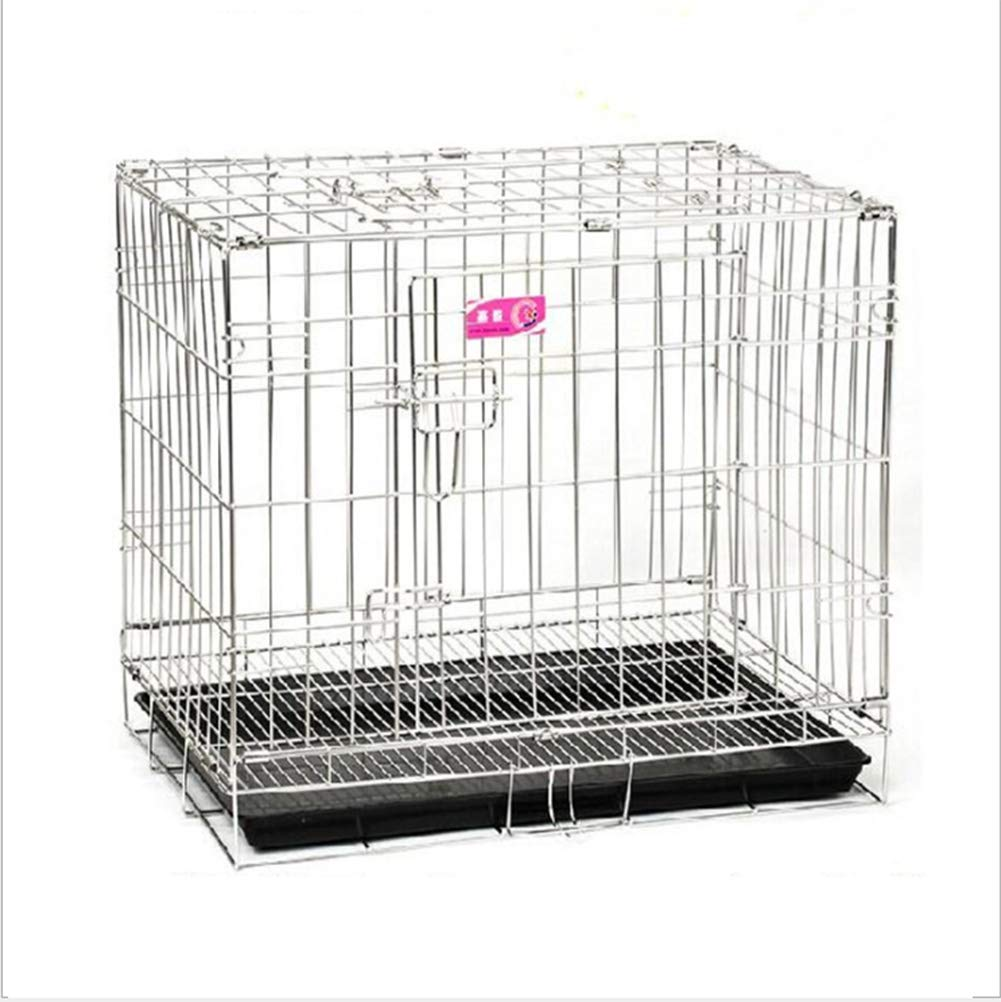 Medium Dog Cage Double Door Folding Comfort Stainless Steel Dog Cage Large Dog Medium Dog Small Dog,M