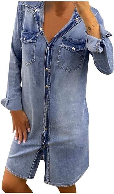 Amazon.com: DEATU Women's Work Casual Button Down Denim Shirt ...