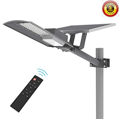 TENKOO LED Outdoor Solar Street Lights Dusk to Dawn Light Sensor Included , IP65 Outdoor Solar Flood Light 60W 6000 Lumens with Remote Control Security Lighting for Yard Garden Pathway