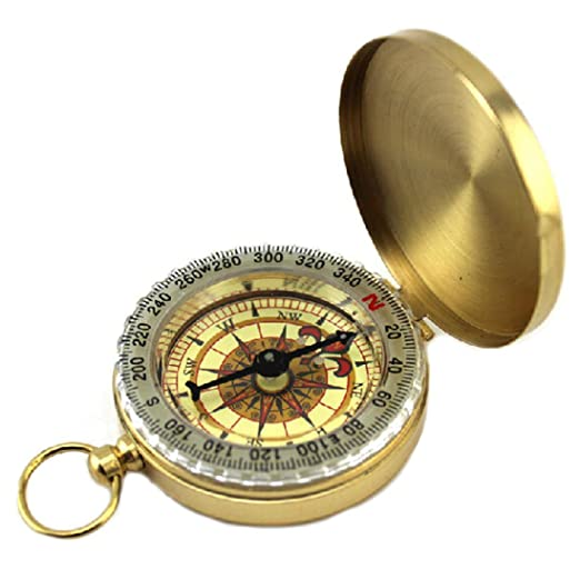 Compasses, Robiear Pocket Brass Watch Style Outdoor Camping Hiking Navigation Compass Ring Keychain