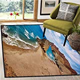 Landscape, Bath Mats for Floors, Ocean View Tranquil Beach Cabo De Gata Spain Coastal Photo Scenic Summer Scenery, Bath Mat Non Slip 6x9 Ft Blue Brown