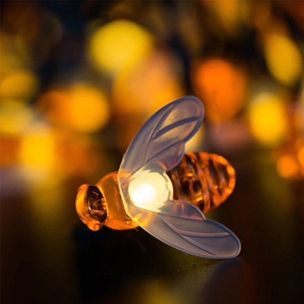 GEZICHTA Honeybee String Lights, Waterproof 65 Led 30 Led Bumble Bee Shape Solar Powered Waterproof Fairy Decorative Lights for Outdoor, Wedding, Homes, Gardens, Patio, Party etc (Warm White) (30LED)
