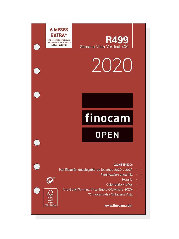 Finocam - Recambio Anual 2020 semana vista vertical Open R1099 español, 1000-155x215 mm