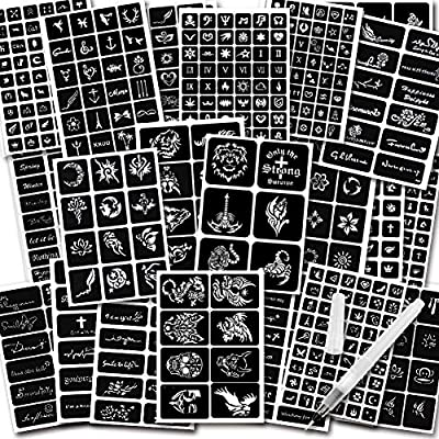 Koogel 434 Pcs Semi Permanent Tattoo With Body Painting Pen 20 Sheets Henna Girls Boys Tattoo Stencil Temporary Tattoos For Women Body Art Template Amazon Sg Beauty