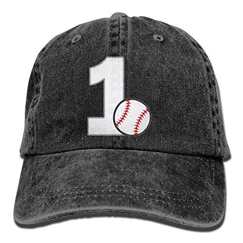 Uanqunan Baseball First Birthday Unisex Cotton Denim Baseball Cap Adjustable Strap Low Profile Plain Hats Black