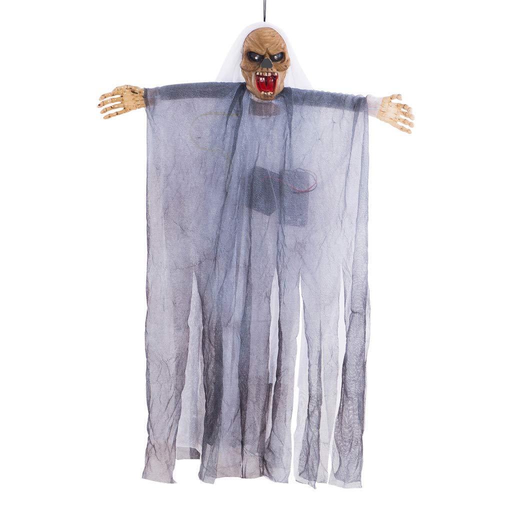 Indexshop Halloween Haunters Hanging Decoration Ghost Skeleton Prop Decoration Voice Control Cap Gauze Ghost Hanging Decoration Flashing LED Eyes Prop Decoration Evil Laugh Sounds (White)