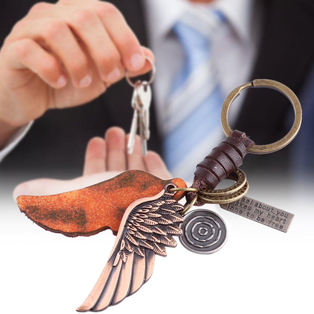 Walfront Angel Wing Clip On Charm Keychain Retro Alloy Weave Genuine Leather Car Key Chain for Men and Women