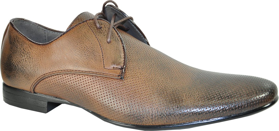 BRAVO Men Dress Shoes KLEIN-1 Oxford Fashion with Round Plain Toe Brown 7M by Bravo! (Image #1)