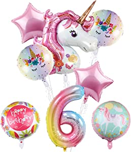 Unicorn Party Supplies, Unicorns 6th Birthday Balloon Bouquet Decorations,Baby Shower, Home Office Decor, Birthday Backdrop