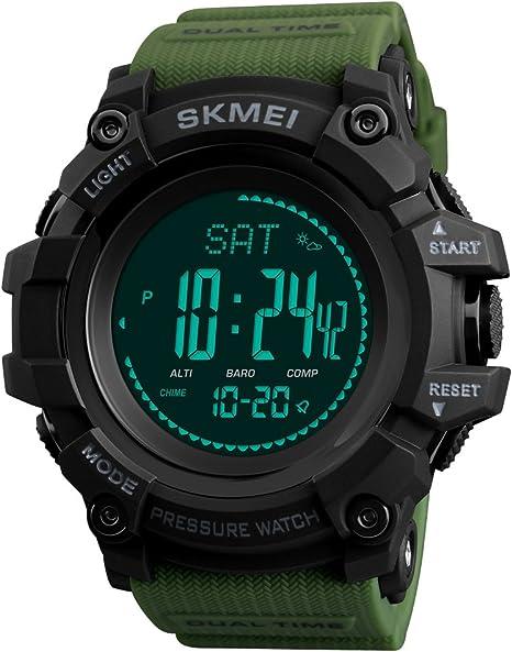 JQXB Reloj Digital Hombres Fitness Tracker Podómetro Brújula Altímetro Barómetro Termómetro Cuenta Atrás Calorías ...