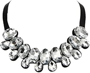metal necklace for women with a crystal and a black band No 1161 - 4