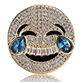 Jewelrysays Hip Hop Unisex Jewelry Personality Full Zircon Gold Smile Ring Accessorise 1pcs(7)