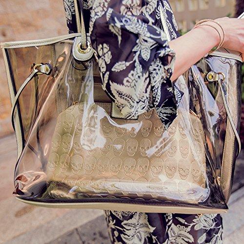 Zazero 2018 - Bolso de Playa Impermeable con Diseño de Calavera Transparente y Bolso de Hombro para Madre, Dorado Bag with gold