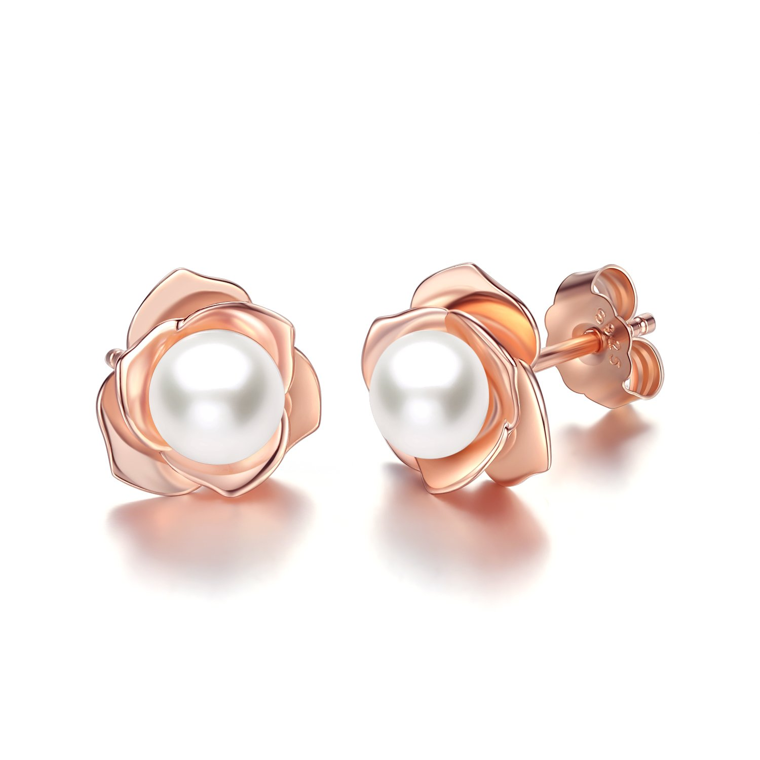 Rose Gold Plated Flower with Freshwater Cultured Pearl Stud Earrings for Women Girls