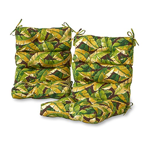 Greendale Home Fashions Outdoor High Back Chair Cushion (set of 2), Palm Green