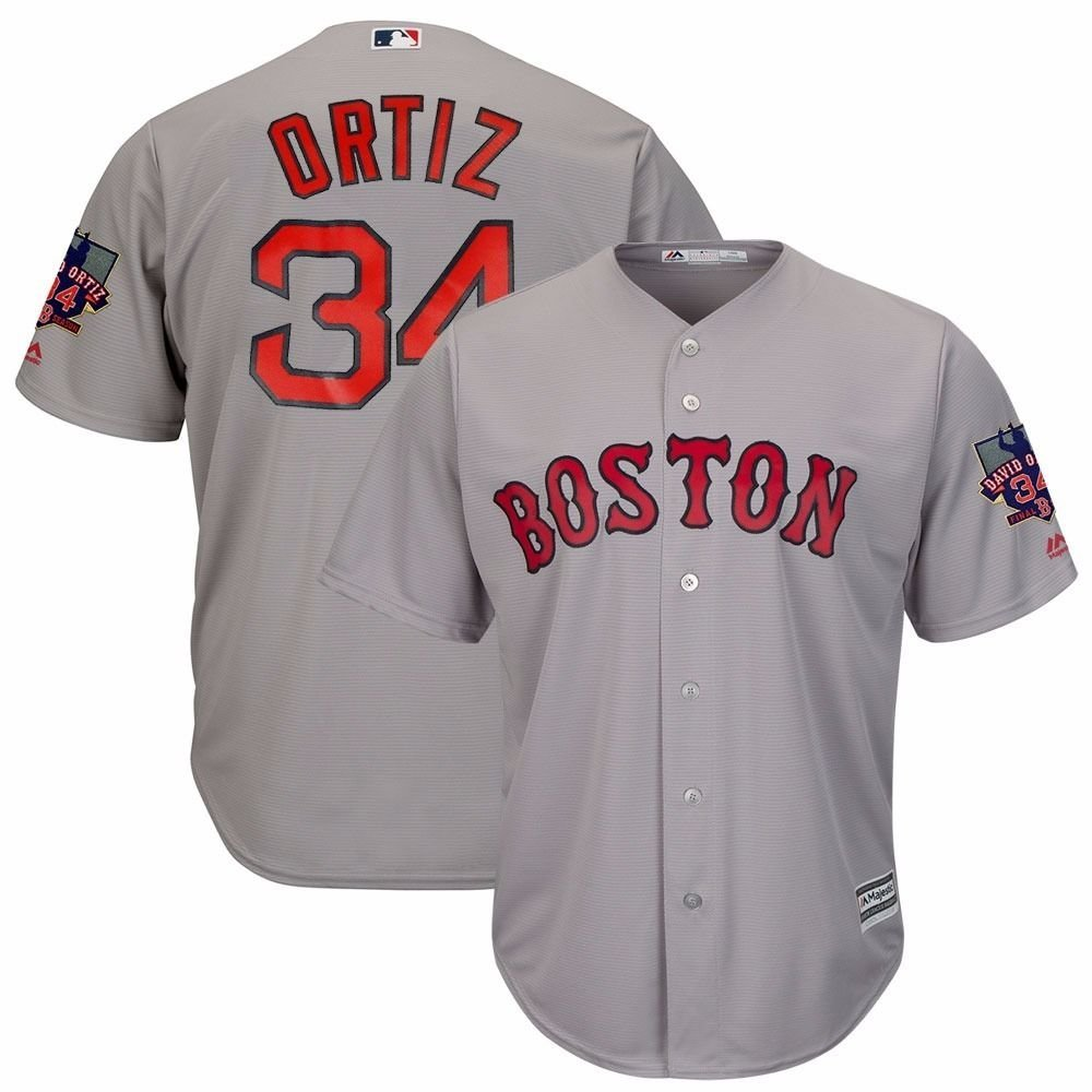 1120dd2ed6b Amazon.com   Majestic David Ortiz Boston Red Sox  34 MLB Men s Retirement  Patch Road Jersey Grey (Small)   Sports   Outdoors