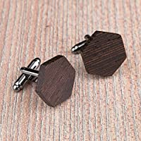 Free shipping: Black Wood cufflinks. Hexagon natural Wenge cufflinks. Custom personalized initial monogram cufflinks. Engraved jewelry for men. Wedding groomsmen groom gifts