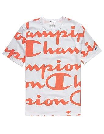 d11c7921 Champion Life All-Over Script T-Shirt | Amazon.com