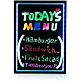 "Smonet 16""x12"" Flashing Illuminated Erasable Neon LED Message Menu Sign Writing Board (7 Colors of RGB 28 Flashing-Mode Remote Control, Washable Eraser Cloth,2pcs Fluorescent Pens)"