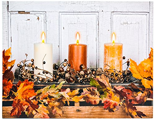 OSW Fall 3 Candles Canvas Art LED Candles Light up fall Wall art Decor