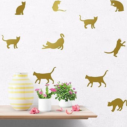 9 Pegatinas silueta gato color dorado pared vinilo decorativo escaparates mascotas perros gatos clinicas veterinarias de