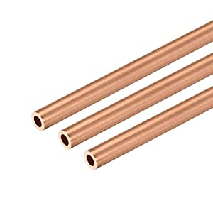 uxcell Copper Round Tube, 5mm OD 1mm Wall Thickness 300mm Long Straight Pipe Tubing 3 Pcs