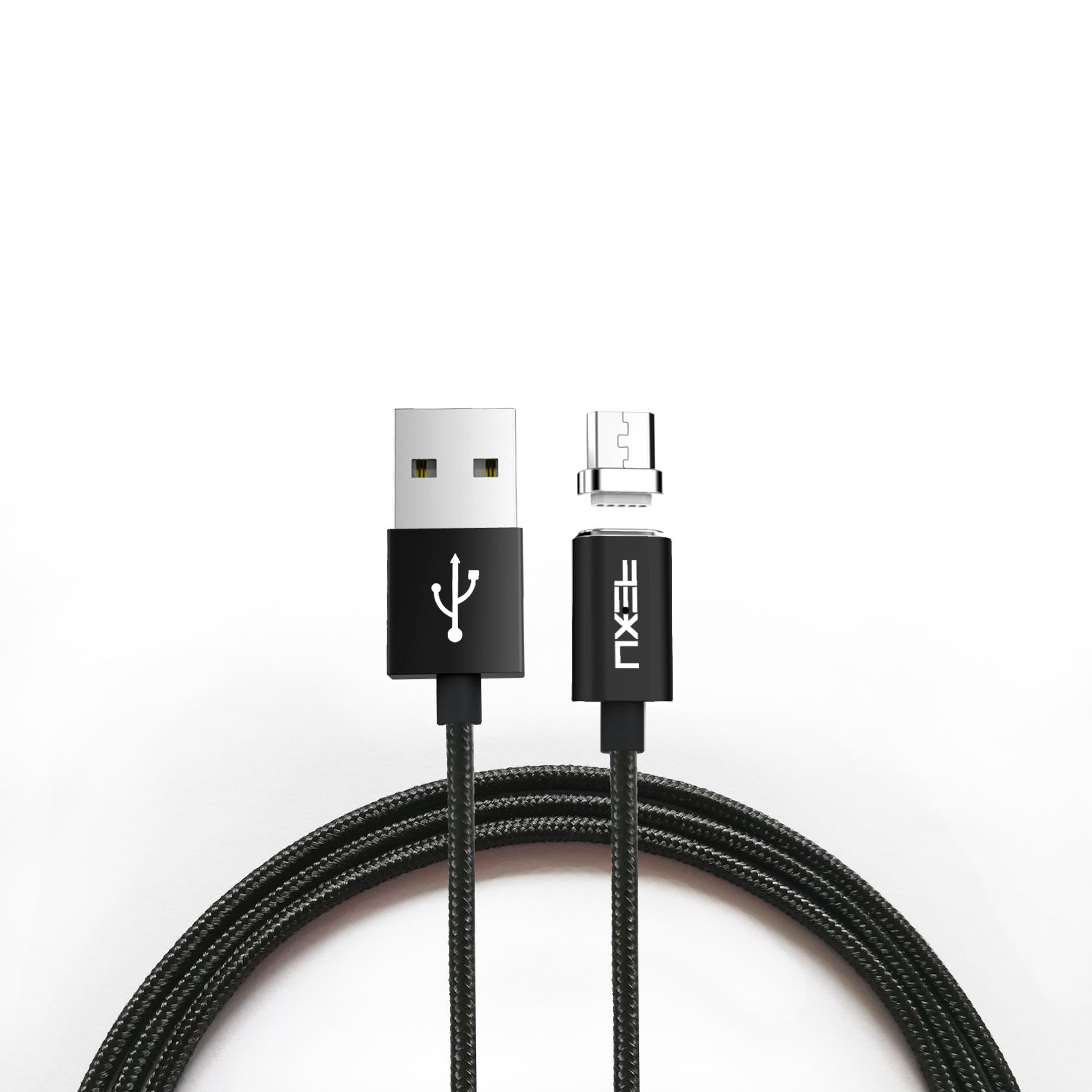 Magnetic USB Cable, iKNOWTECH Reversible Data Sync & High Speed Charger Cable Adapter with LED Indicator Light for Android, HTC, Samsung, Sony phones & Tablets (1.2 M Black Magnetic Micro USB Cable)