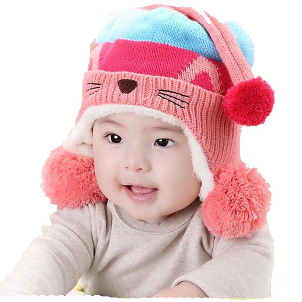 TBS Animal Baby Toddler Warm Knitted Fleece Hats (Light Blue Bobble)