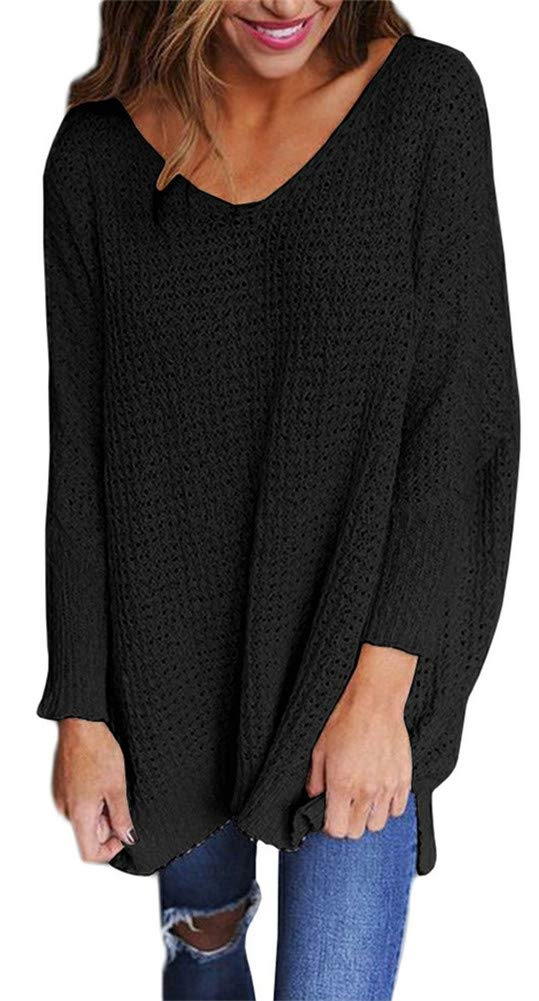 ETCYY Women's Long Sleeve Blouse Casual V Neck Knit Loose Pullover Sweater Tops