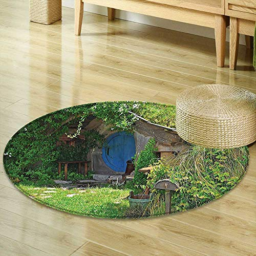 Dining Room Home Bedroom Carpet Hobbits Fantasy Hobbit Land House in Magical Overhill Woods Movie Scene Image New Zealand Green Brown Blue Non Slip Rug R-35 by Mikihome