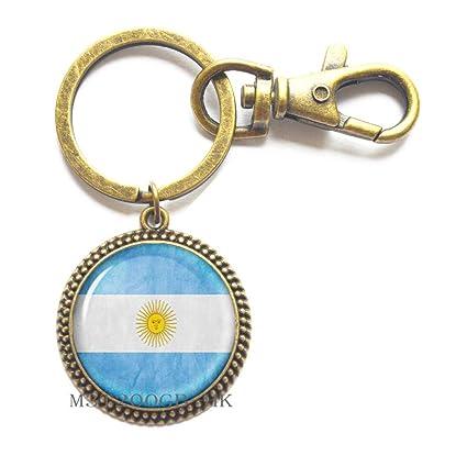 Llavero hecho a mano con la bandera de la Argentina de ...