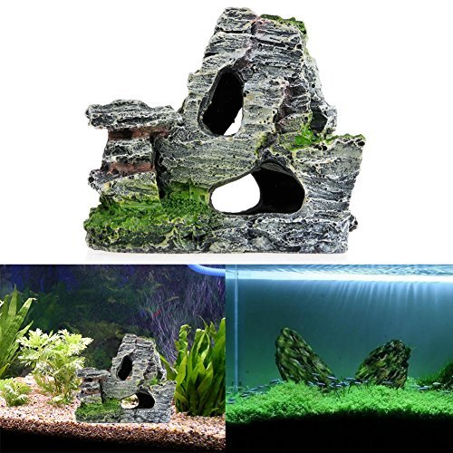 Image of Delight eShop Mountain View Aquarium Rock Cave Tree Bridge Fish Tank Ornament Rockery Decor