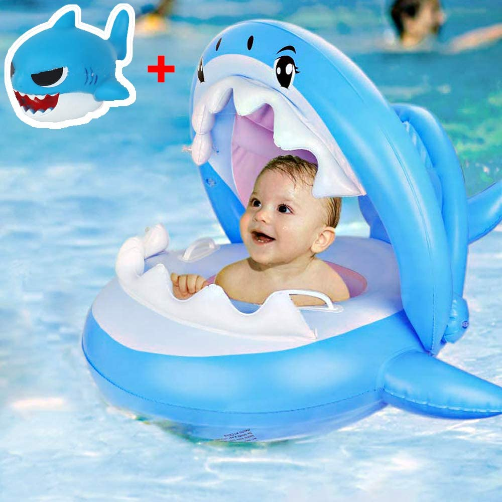 Shark Baby Floats for Pool with Canopy - Inflatable Infant Swimming Floaties, Toddler Swim Float Neck Ring for Lake Floating with Sun Shade, Whale Floaty Trainer for 6-36 Months Beach Water Boat Toys