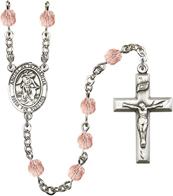 Boniface Silver Plate Rosary Bracelet 6mm Fire Polished Beads Every Birth Month Color St