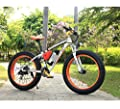 Richbit® Electric Bike Cruiser Bike Electric Mountain Bicycle Snow Bike ebike 350W Motor*36V Lithium Battery with Shimano TX 21 Speeds System 4.0 inch Fat Tire Suspension Fork RT-012 Orange