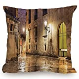 Throw Pillow Cushion Cover,Gothic Decor,Gothic Ancient Stone Quarter of Barcelona Spain Renaissance Heritage Gothic Night Street Photo,Cream,Decorative Square Accent Pillow Case