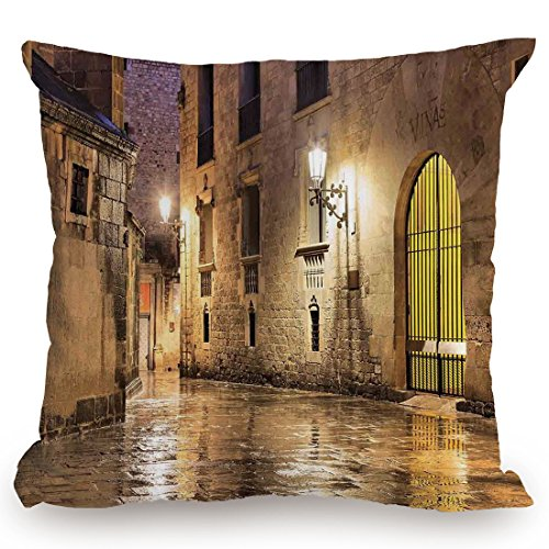 Throw Pillow Cushion Cover,Gothic Decor,Gothic Ancient Stone Quarter of Barcelona Spain Renaissance Heritage Gothic Night Street Photo,Cream,Decorative Square Accent Pillow Case by KissCase