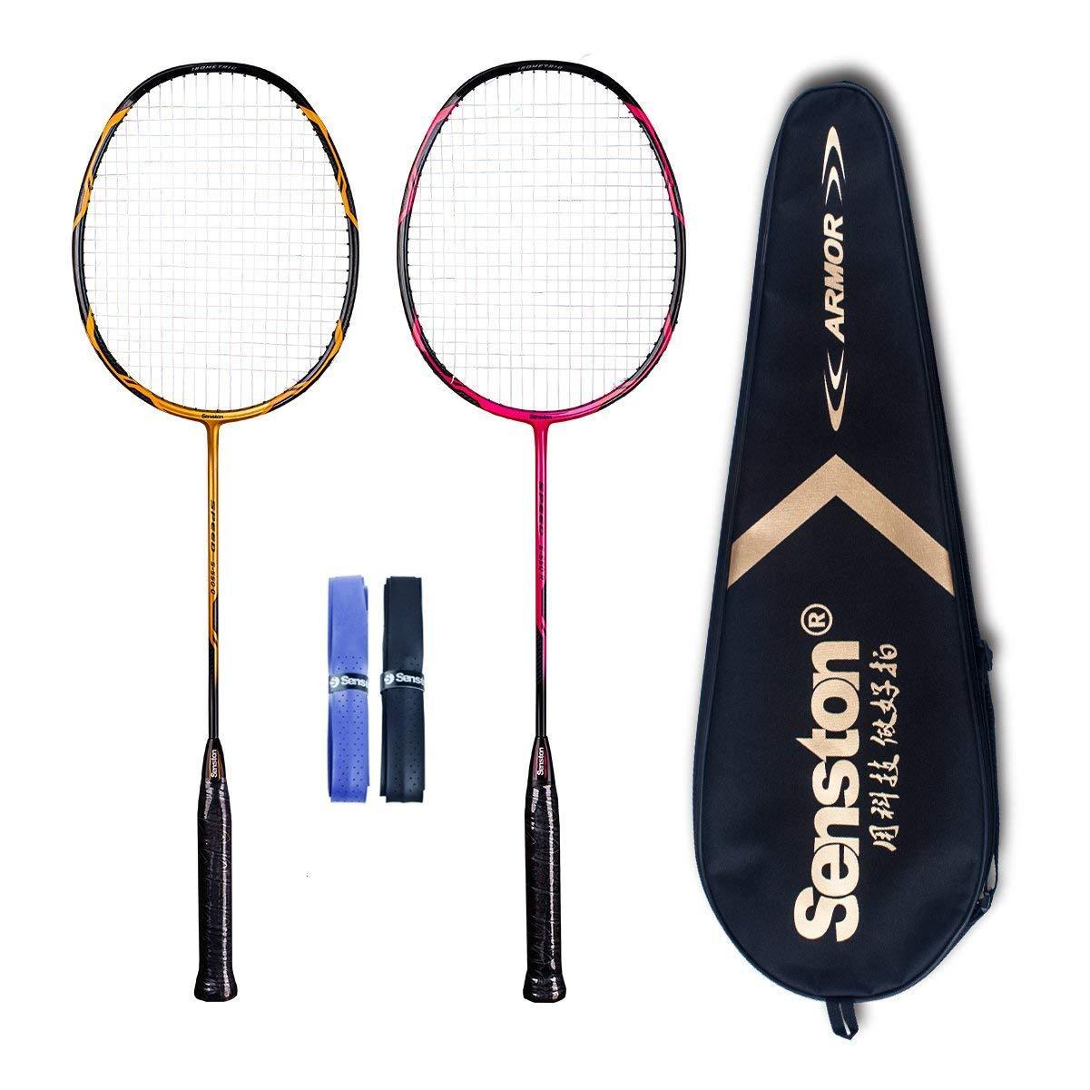 Senston - High Grade 2 Player Graphite Badminton Racket Set - Including 1 Badminton Bag/2 Rackets/2 Grip(red+Yellow) by Senston (Image #1)