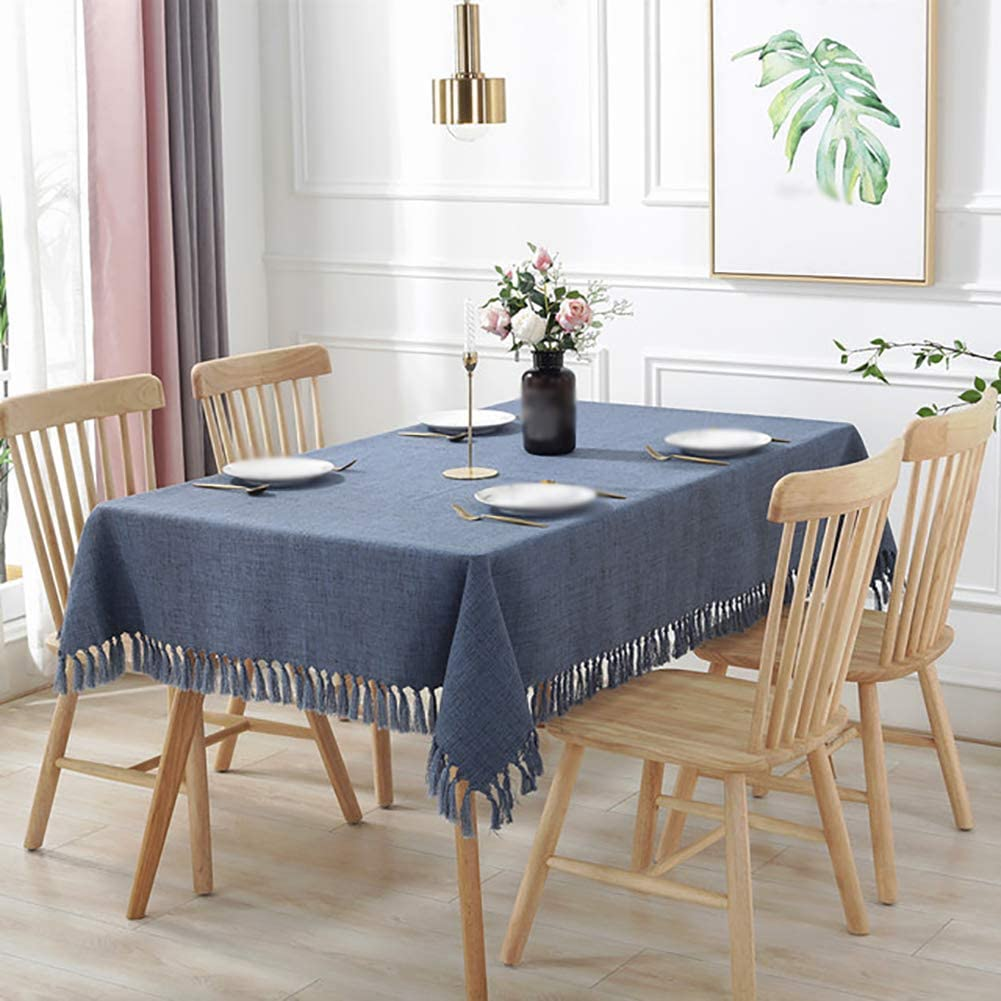 Tablecloth Tassel Dust-proof Durable,tablecloth Solid Color Rectangular Machine Washable Multi-size Table Decoration For Indoor Outdoor YMXQW Blue 135x200cm