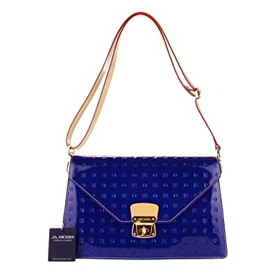 cfb5e396c9c8 ARCADIA Italian Made Navy Blue Patent Leather Monogram Designer Shoulder Bag  Clutch