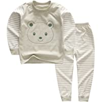 YANWANG 100% Organic Cotton Baby Boys Girls Pajamas Set Long Sleeve Sleepwear(3M-6T)