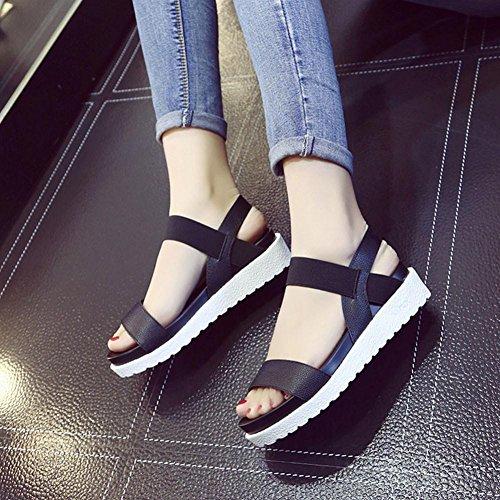 élégantes Noir à Mode Sandales Chaussures Plates Cuir en Vovotrade la Sandales Femme ATa5gxw4