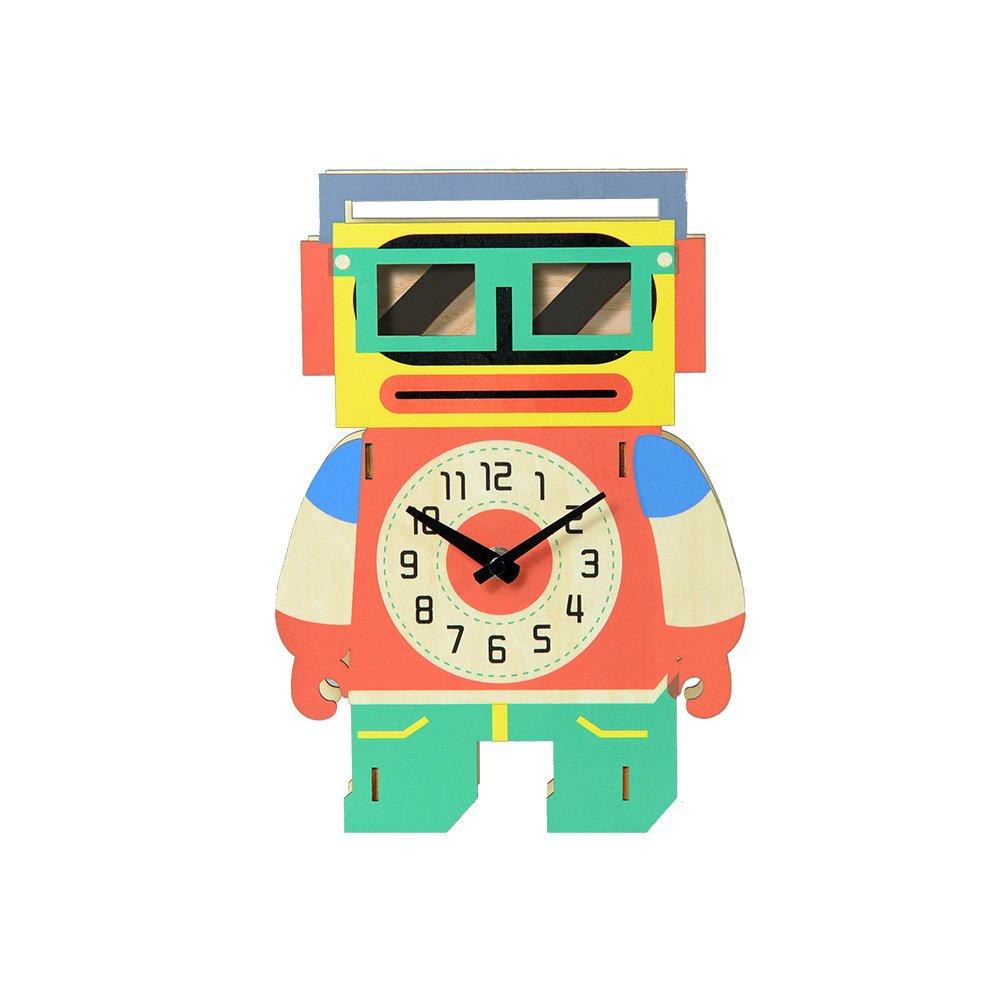Creative Swing Cartoon Robot Wooden Wall Clock Silent Non-ticking Home Office Children Bedroom Decorations Gift Harajuku