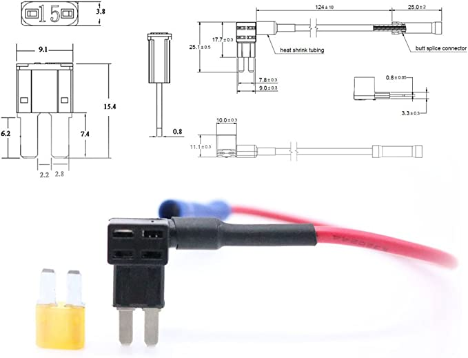 MagiDeal Blade Style ATR APT Micro 2 Fuse Tap Holder With 5AMP Fuse Circuit Adapter