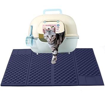 Zellar Alfombrilla para gatos portátil (grande)-Materias de alimentación de gato de doble