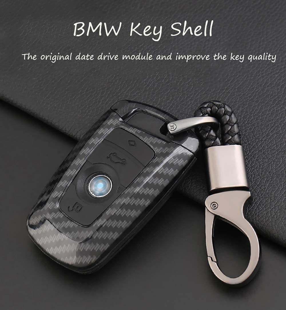 Carbon Fiber Car Key Fob Chain Ring Cover Case For BMW 1 2 3 4 5 7 Series X3 X4