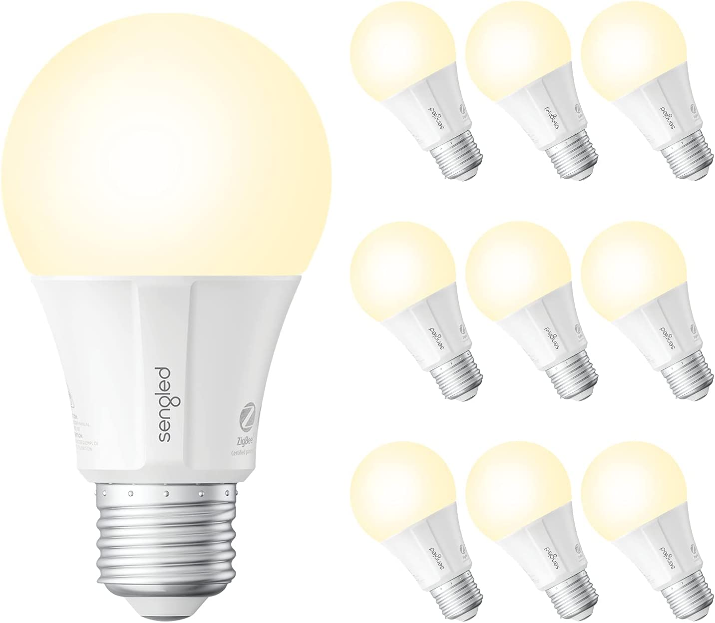 Sengled Smart Bulbs, Smart Light Bulbs That Work with Alexa, Google Home, 800LM Soft White (2700K), A19 E26 Dimmable Smart Led Bulb, 9W (60W Equivalent), Zigbee Smart Hub Required, 10 Pack