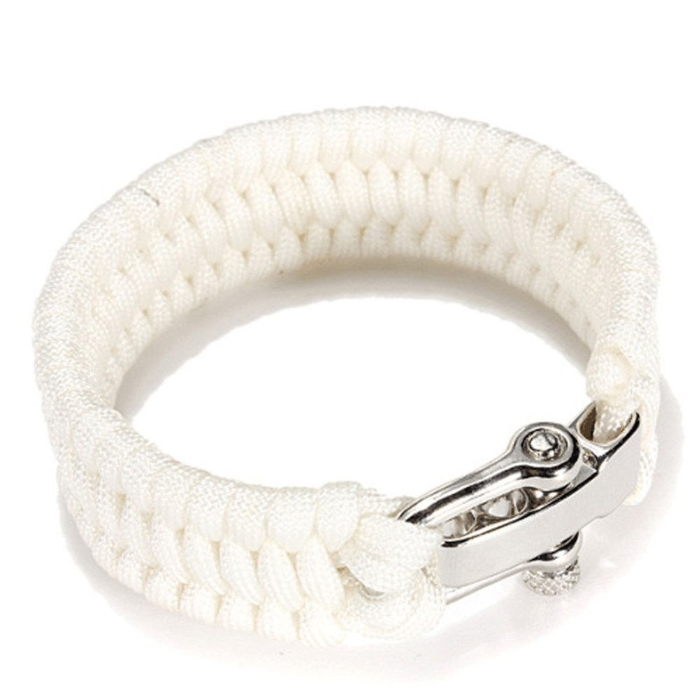 Survival Paracord Bracelet, TRENDINAO New Survival Rope Paracord Bracelet Outdoor Camping Hiking Steel Shackle Buckle (White)