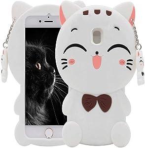 Maoerdo Cute 3D Cartoon Fortune Cat White Silicone Rubber Phone Case Cover for Samsung Galaxy J3 2018 / J3 Achieve/Amp Prlme 3 / J3 Eclipse 2 / J3 Prlme 2 / J3 Emerge 2018 / J3 Star / J3 Orbit